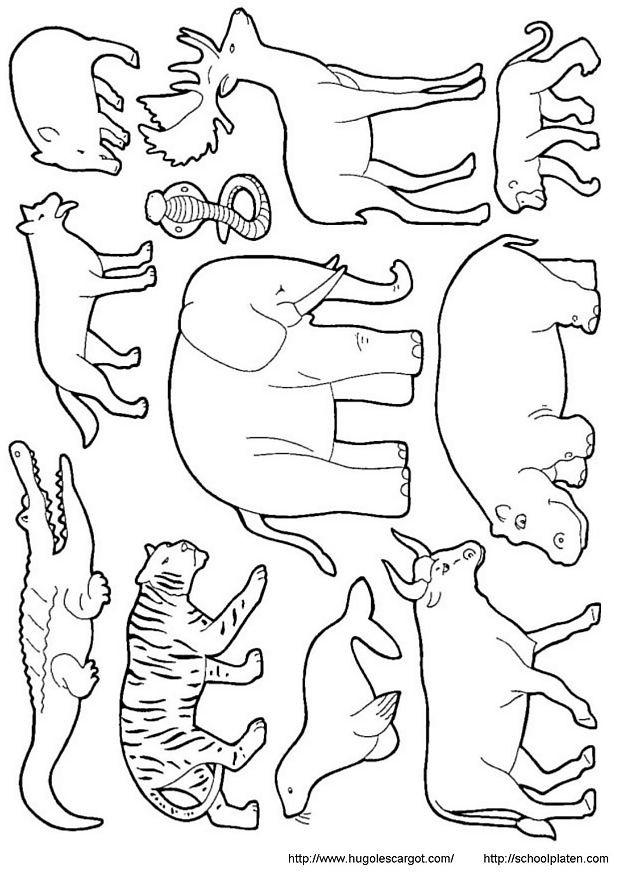 Coloriage Animaux Sauvages vecteur dessin gratuit à imprimer