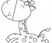 Coloriage et dessins gratuit Bébé Girafe souriante à imprimer