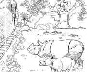Coloriage et dessins gratuit clôture de Zoo à imprimer