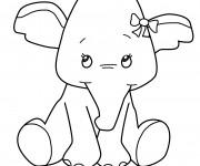 Coloriage et dessins gratuit Éléphant trop mignonne à imprimer
