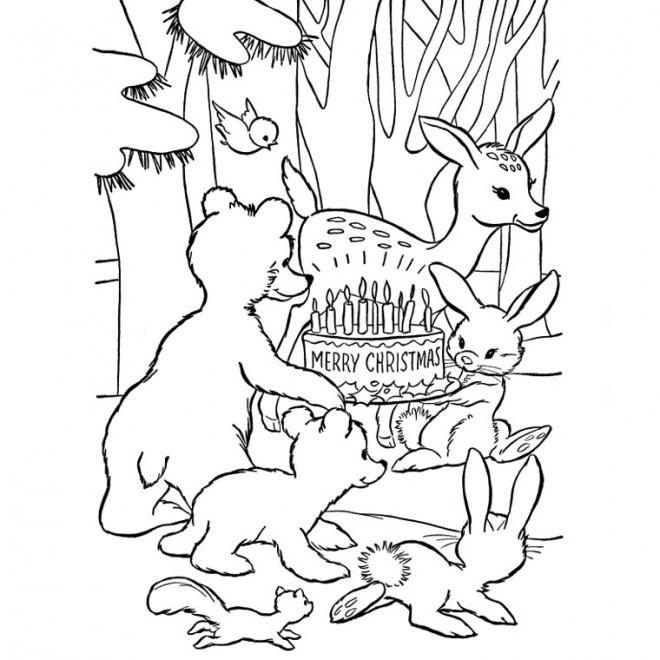 Coloriage et dessins gratuits Les Animaux et Le Noël à imprimer