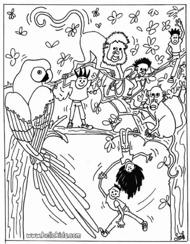 Coloriage et dessins gratuits Les Animaux et Les Enfants à imprimer