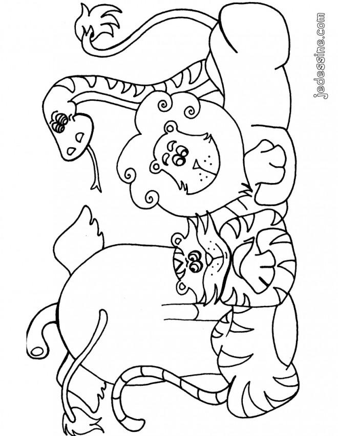 Coloriage et dessins gratuits Les Animaux sauvages heureux à imprimer