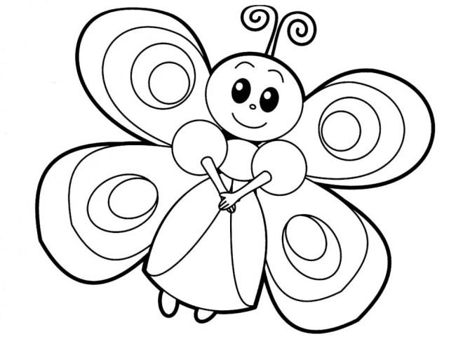 Coloriage et dessins gratuits Papillon aimable vecteur à imprimer