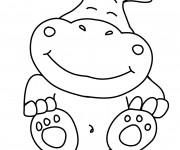 Coloriage Petit Hippopotame fantastique