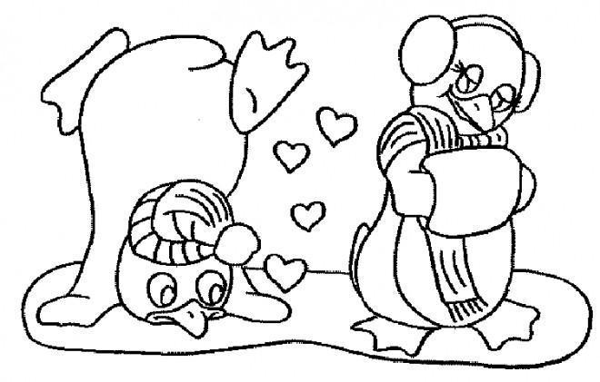 Coloriage et dessins gratuits Pingouin amoureux à imprimer