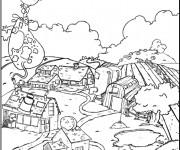 Coloriage Ferme agricole dessin animé