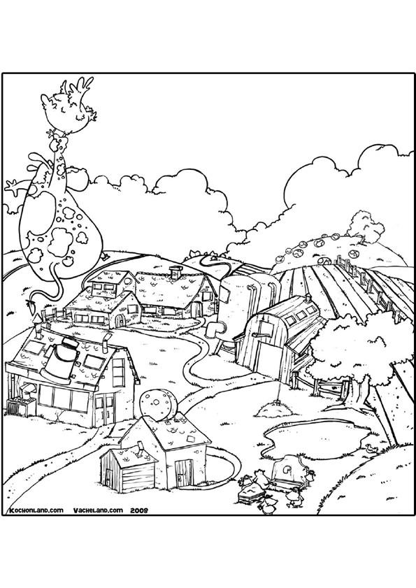 Coloriage et dessins gratuits Ferme agricole dessin animé à imprimer