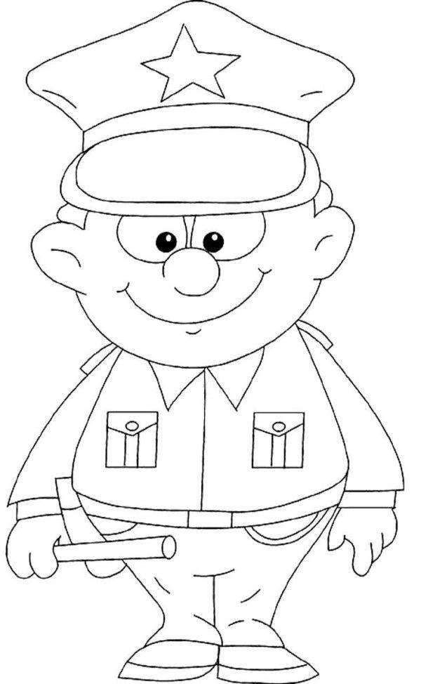 Coloriage et dessins gratuits Agent de Police tout en souriant à imprimer
