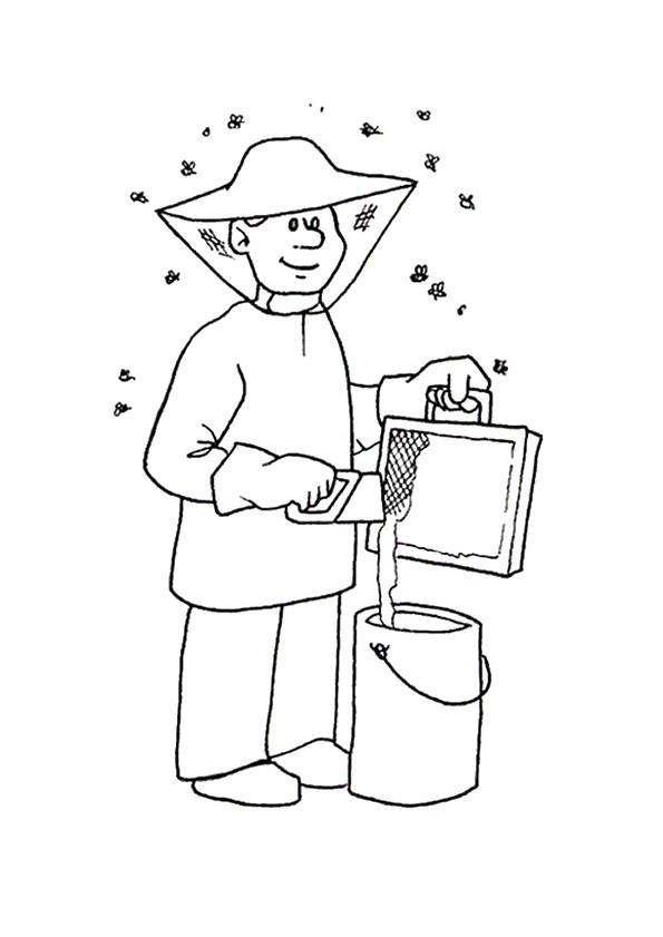Coloriage apiculteur au travail dessin gratuit imprimer - Coloriage travail ...