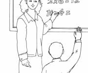 Coloriage Enseignante et Élève