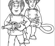 Coloriage et dessins gratuit Les Pompiers en action à imprimer