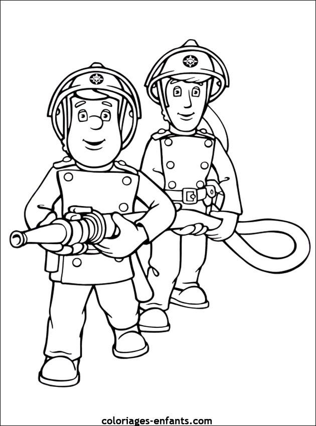 Coloriage et dessins gratuits Les Pompiers en action à imprimer