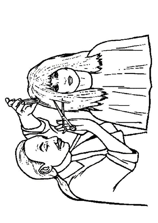 coloriage m u00e9tier coiffeur des femmes dessin gratuit  u00e0 imprimer