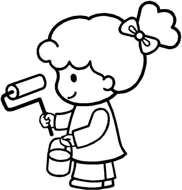 Coloriage et dessins gratuits Petite Fille Peintre à imprimer
