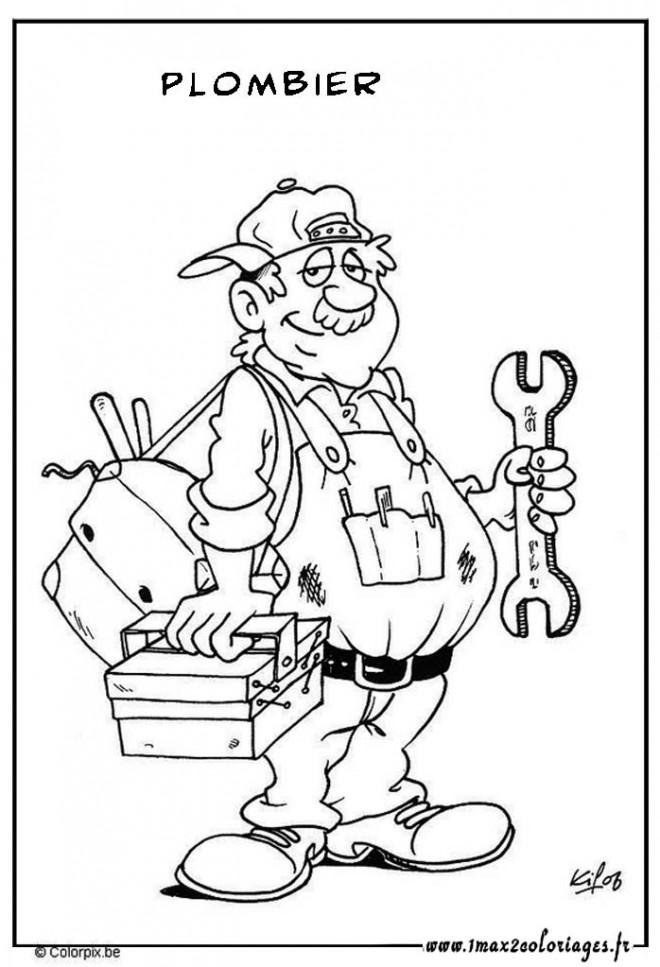 coloriage profession plombier dessin gratuit  u00e0 imprimer