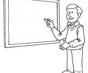 Coloriage Un Maître en classe