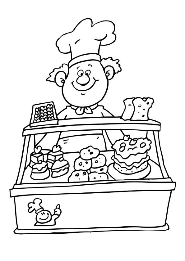 Coloriage et dessins gratuits Un Pâtissier chaleureux à imprimer