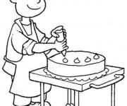 Coloriage et dessins gratuit Un Pâtissier décore Le Gâteau à imprimer