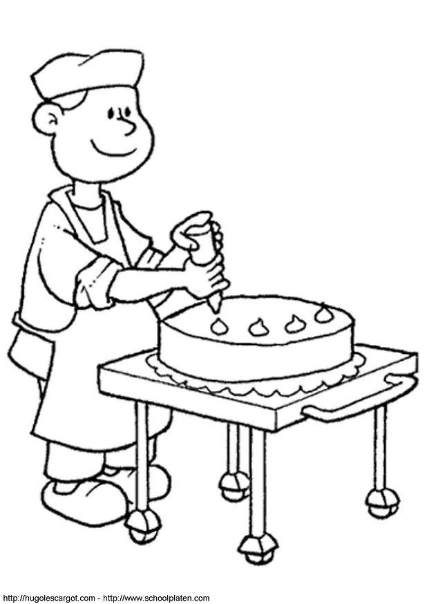Coloriage et dessins gratuits Un Pâtissier décore Le Gâteau à imprimer