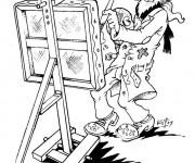 Coloriage Un Peintre Artiste