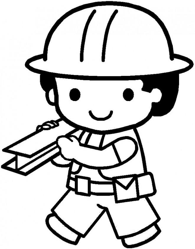 Coloriage un petit ouvrier dessin gratuit imprimer for Logiciel de dessin batiment gratuit
