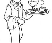Coloriage et dessins gratuit Un Serveur souriant à imprimer