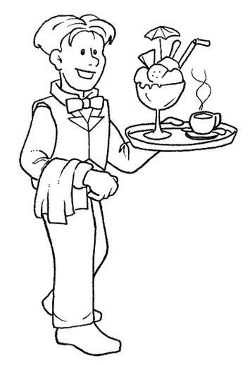 Coloriage et dessins gratuits Un Serveur souriant à imprimer