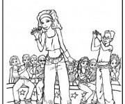 Coloriage Une Chanteuse sur Scène