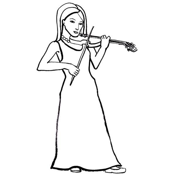Coloriage et dessins gratuits Une Musicienne au crayon à imprimer