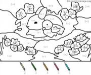 Coloriage et dessins gratuit Addition Le Lapin et l'oiseau à imprimer