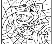 Coloriage Magique Addition Le petit Dinosaure