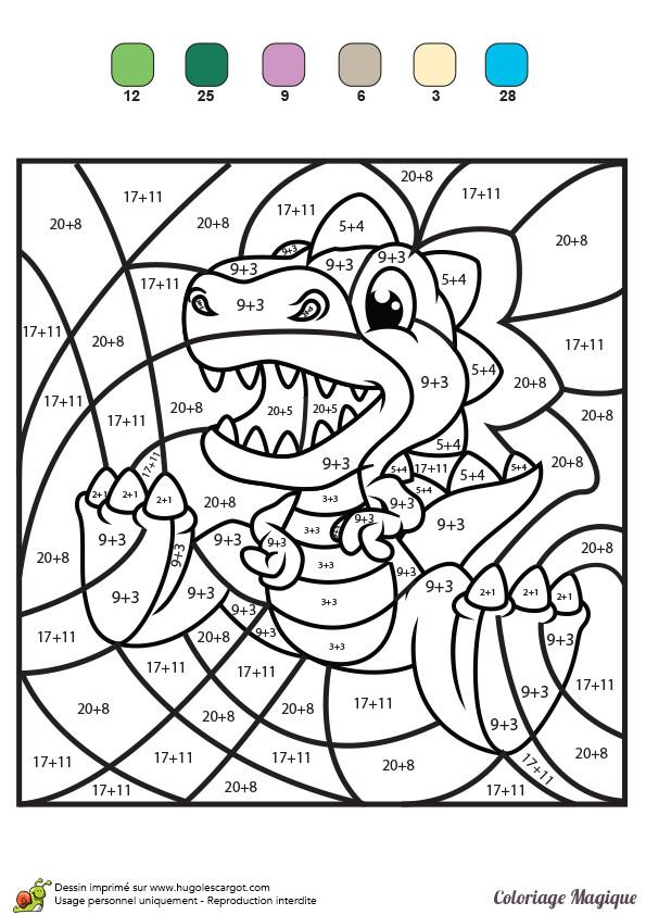 Coloriage magique addition le petit dinosaure dessin gratuit imprimer - Dessin numerote ...