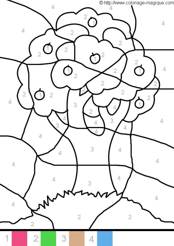 Coloriage Magique Arbre Facile dessin gratuit à imprimer
