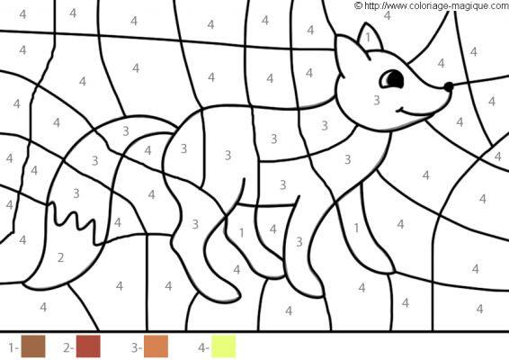 Coloriage magique facile renard num rot - Coloriage magique loup ...