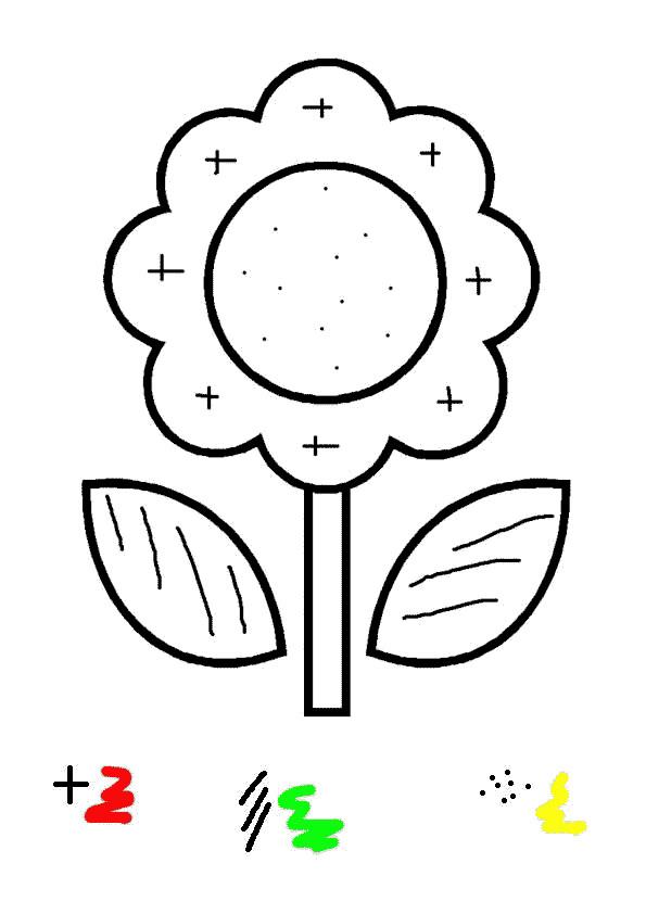 Coloriage Code Fleur.Coloriage Magique Fleur Stylise Dessin Gratuit A Imprimer
