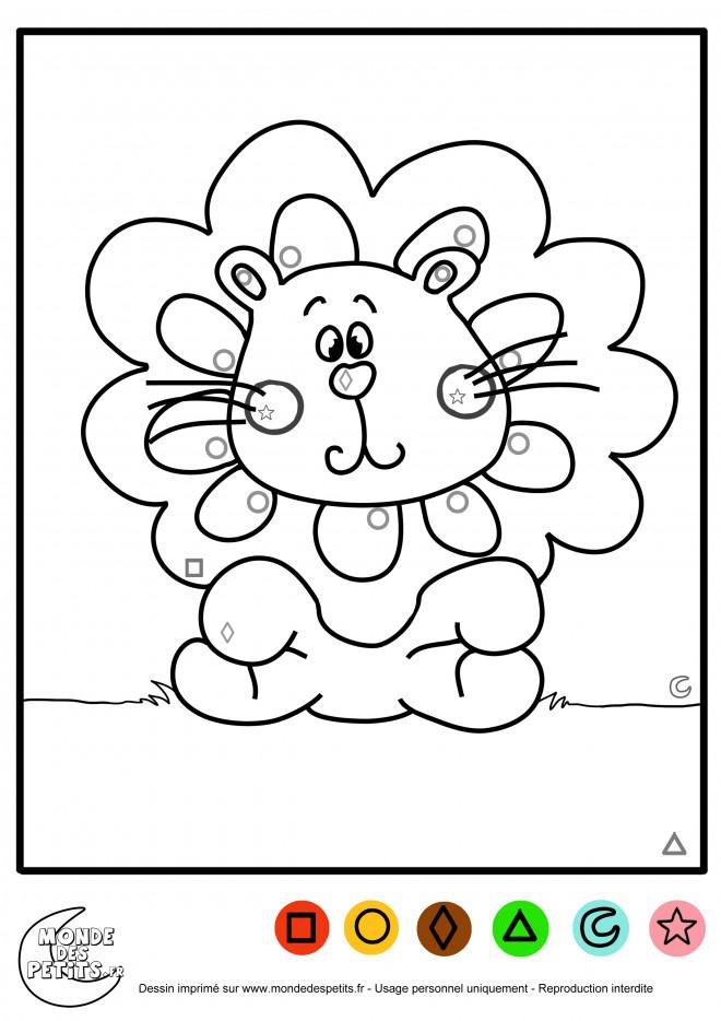 Coloriage Magique Lion dessin gratuit à imprimer
