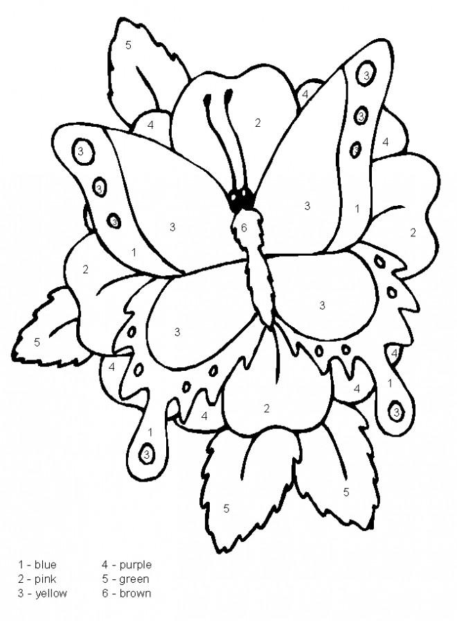 Coloriage et dessins gratuits Magique Papillon avec des chiffres à imprimer