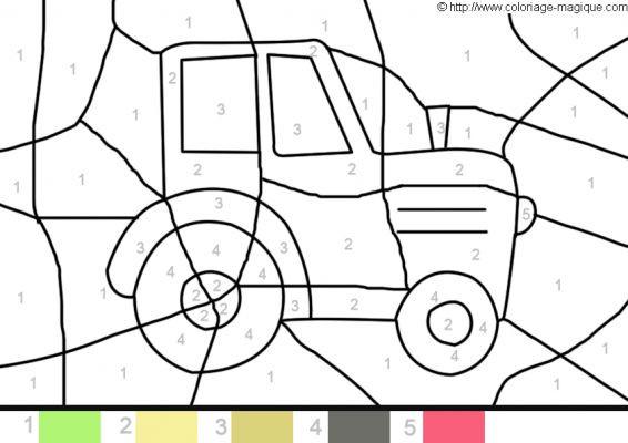 Coloriage magique tracteur facile dessin gratuit imprimer - Jeu de tracteur agricole gratuit ...