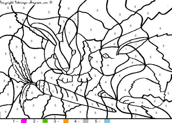 Coloriage Code Lapin.Coloriage Magique Chiffres Les Lapins Dessin Gratuit A Imprimer