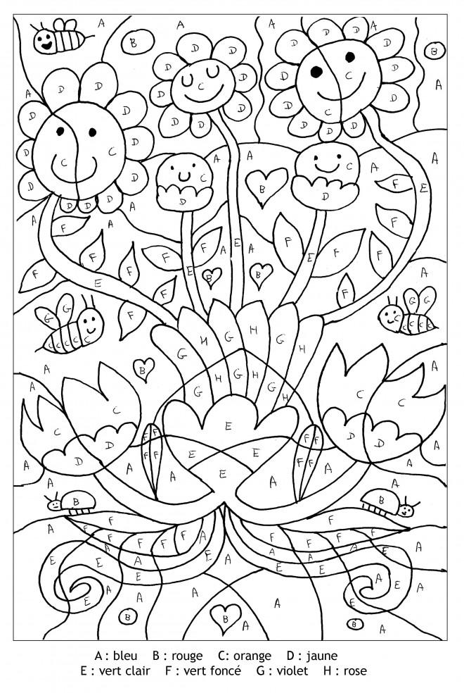Coloriage Magique Lettres Les Fleurs Dessin Gratuit A Imprimer