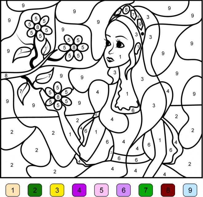 Coloriage Magique Numéros La Princesse Dessin Gratuit à Imprimer