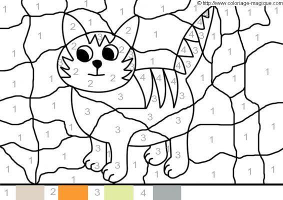 Coloriage magique facile un chat dessin gratuit imprimer - Chat facile et gratuit ...