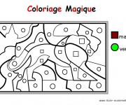 Coloriage Magique Maternelle en marron et vert
