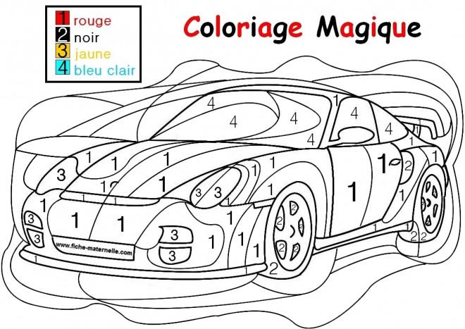 Coloriage et dessins gratuits Magique numération de voiture à imprimer