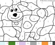 Coloriage Magique numération Le chien