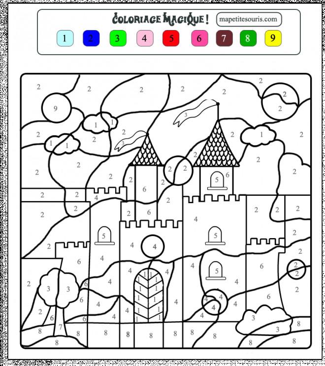 Coloriage Magique Facile Chateau Dessin Gratuit A Imprimer