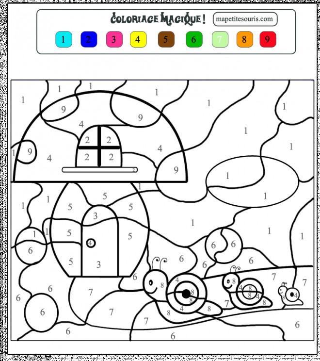 Coloriage et dessins gratuits Magique Numération Escargot à imprimer