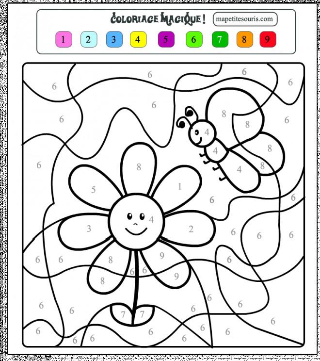 Coloriage Magique Une Fleur Dessin Gratuit A Imprimer