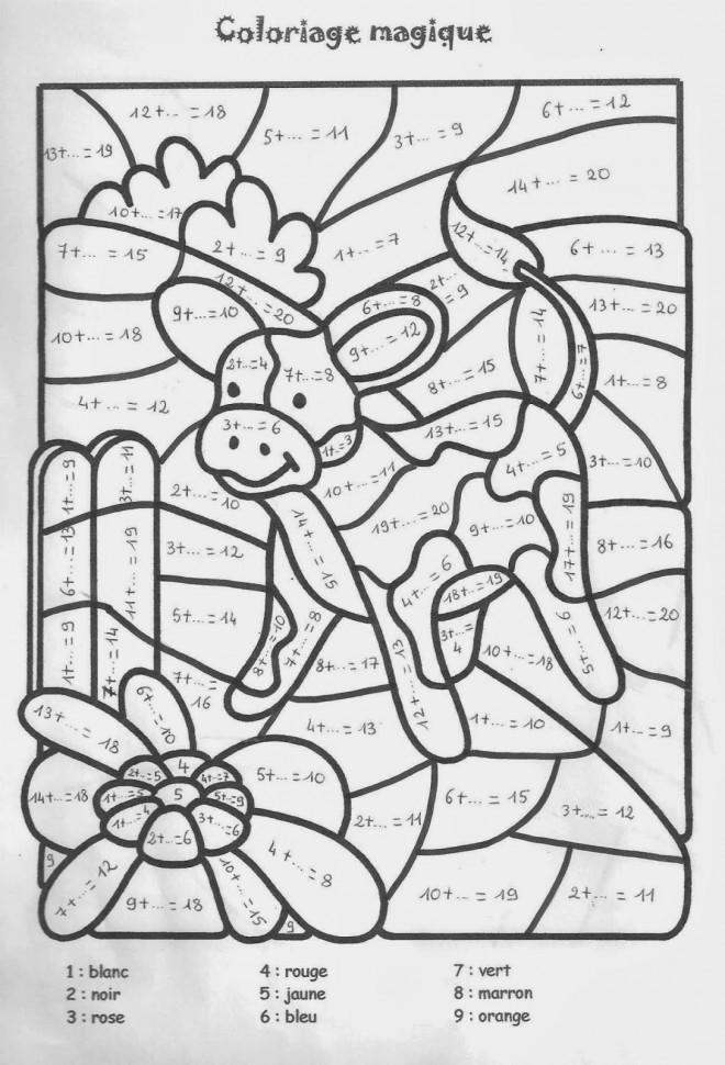 Coloriage et dessins gratuits Magiques Boeuf Addition à imprimer